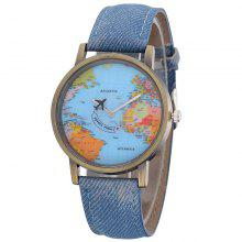 Mannen Retro Simple Canvas PU Map Watch