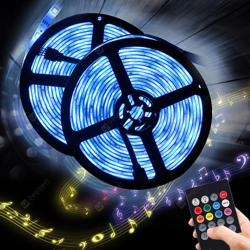 BRELONG 5m RGB 150-LED Strip Light for Decoration 2PCS - BLACK EU PLUG