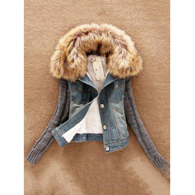 Women Fur Collar Denim Large Size Jacket
