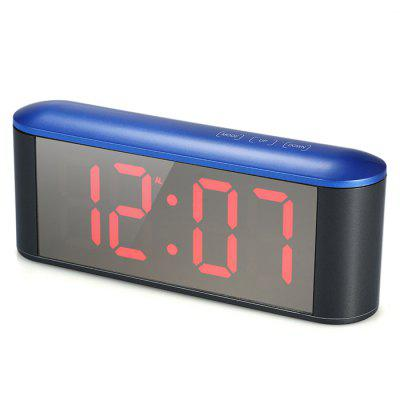 TS-S25-BR Touch LED Electronic Mirror Alarm Clock LED Thermometer Clock Blue Shell Red Light