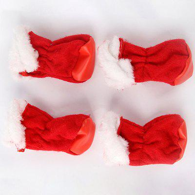 3T3572 Christmas Red Non-woven Pet Shoes 4 Pcs