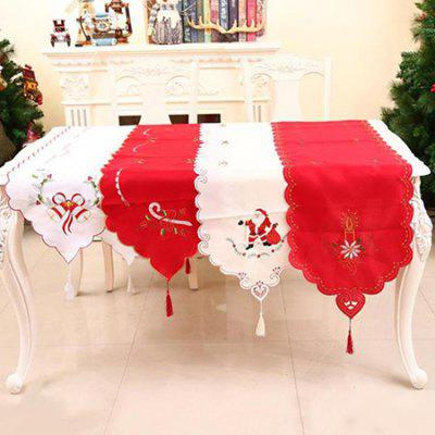 Christmas Living Room Table Embroidered Openwork Tablecloth Table Flag