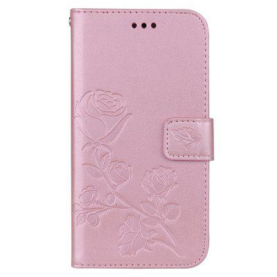 Hat-Prince Rose Embossed PU Leather + TPU Bottom Shell With Card Slot Bracket Function Mobile Phone Case For iPhone XR