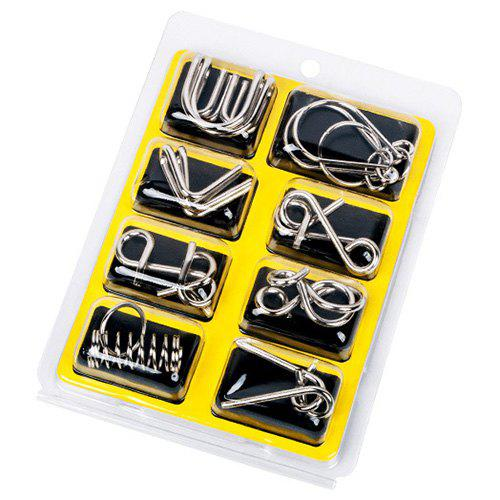 Toy 8PCS Set Metal Puzzle Nine Chain Series Untie Unbuttoning Gift Intelligence Buckle