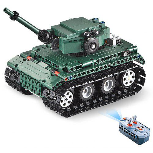 Gearbest CaDA C51018 DIY Puzzle Strong Power Remote Control Crawler Tank Toy for Kids - Grayish Turquoise