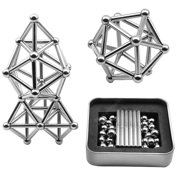DIY Creative Buck Magnetic Bar Ball Set Educational Toys - Silver
