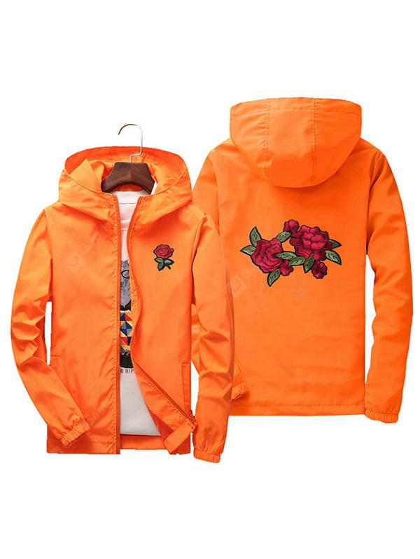 Men Rose Embroidery Outdoor Couple Jacket