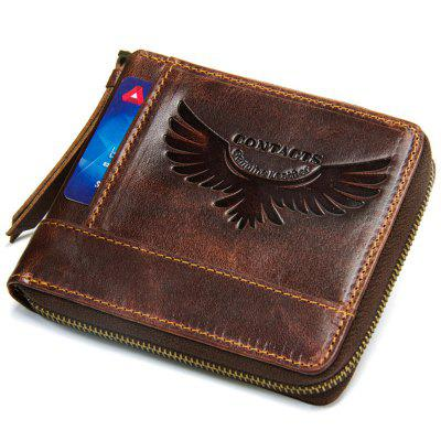 M1258 Men Wallet Leather Short Wallet Crazy Leather Zipper Coin Purse