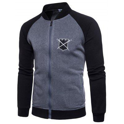 Men Stand Collar Baseball Sports Hoodie