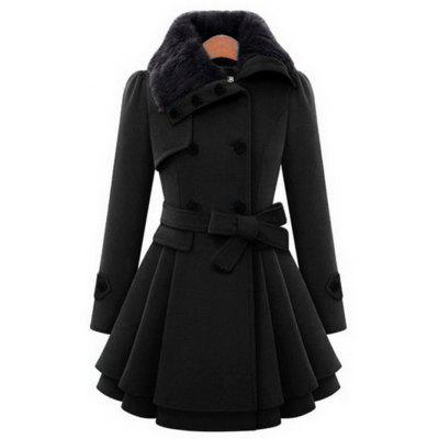 Fur Collar Thick Woolen Coat for Women