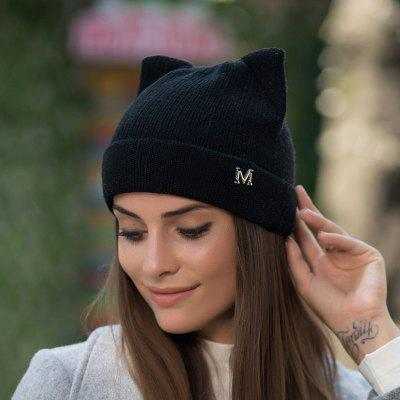Autumn And Winter Wool Knit Hat Ladies Outdoor Hat Warm Cat Ears Skullies Beanies