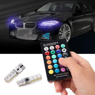 Gocomma T10 Remote Control Decorative RGB LED Light Decoration for Cars 2PCS