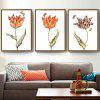 Pastoral Triple Flower Decorative Painting Modern Minimalist Paintings Living Room Bedroom Murals with Frame - WHITE