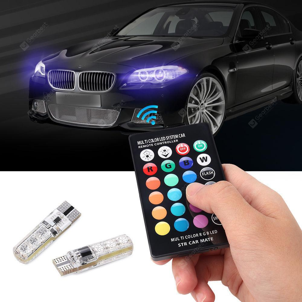 Gocomma T10 Remote Control Decorative RGB LED Light for Cars 2PCS SILVER
