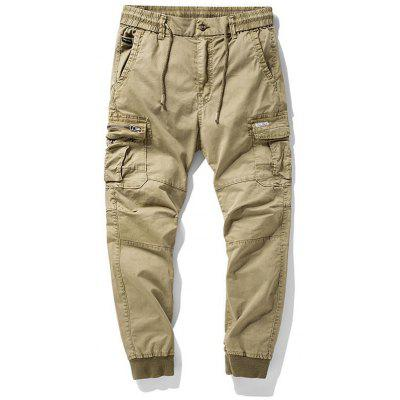 Men's Youth Sports Casual Elastic Waist Pants Multiple Pockets Trousers