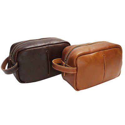 GFAVOR Cosmetic Bag Oil Light Leather Retro Handbag Men's First Layer Leather Portable Clutch Bag