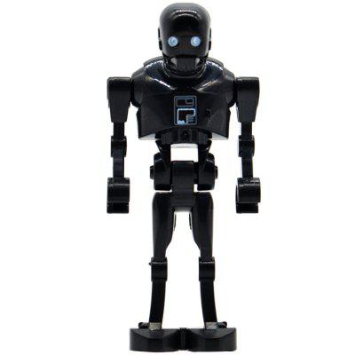 4-in-1 Mini Black Robot Small Army Puzzle Assembled Building Block Toys