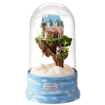 DIY Music Small Doll House Miniature Kit Rotating Box Dust Cover
