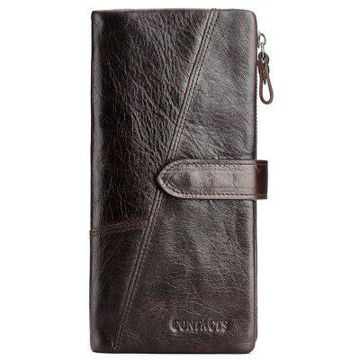Contacts Leather Fashionable Stitching Long Men Wallet
