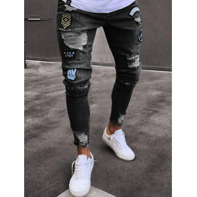 Men Leisure Comfortable Slim Fashion Hole Pants