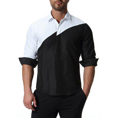 Trend Fashion Black And White Splicing Men Long-sleeved Shirt with Large Size