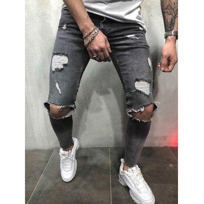 Men Leisure Pants Comfortable Slim Hole Jeans