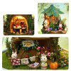 DIY Music Small Doll House Miniature Kit Rotating Box Dust Cover Kids Gifts - MULTI