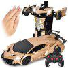 Gesture Sensing Remote Control Robot One Button Transformation Car Toy - GOLD