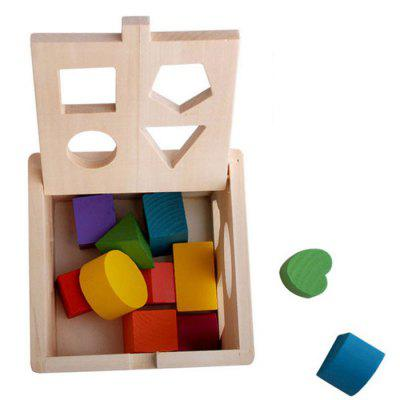 Wooden Intelligence Box Children's Toy Shape Pairing Enlightenment Wood 13 Hole Building Blocks Puzzle