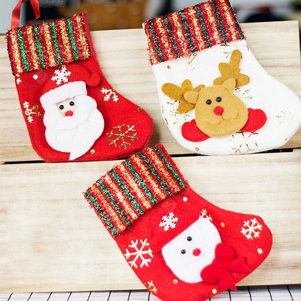 Christmas Socks Gift Bag Brushed Cloth Gold Socks Christmas Decorations  Christmas Tree Pendant