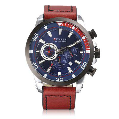 CURREN 8310 Belt Calendar Six-pin Quartz Watch With Box
