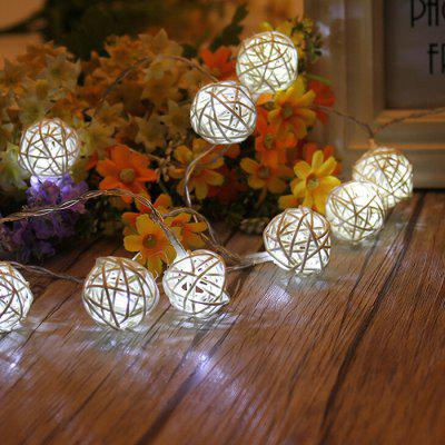 1 meter 10LED White Rattan Holiday  String