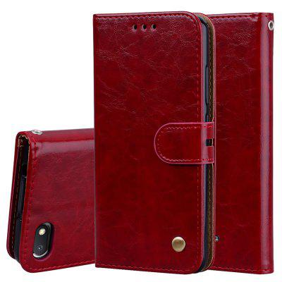 Hat-Prince Oil Wax Pattern PU Leather + TPU Bottom Shell with Card Slot Bracket Function Mobile Phone Case for Red Mi 6A