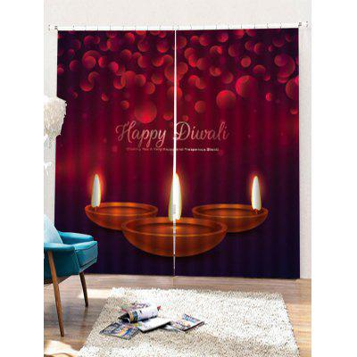 2PCS Christmas Candles Pattern Window Curtains
