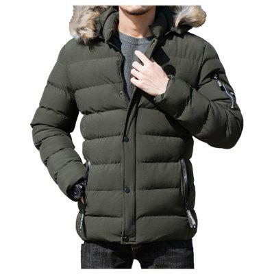 Men's Parka Fur Collar Short Section Slim Fashion Cotton