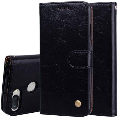 Hat-Prince Oil Wax Pattern PU Leather + TPU Bottom Shell with Card Slot Bracket Function Mobile Phone Case for Red Mi 6