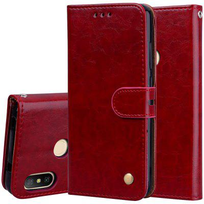 Hat-Prince Oil Wax Pattern PU Leather + TPU Bottom Shell with Card Slot Bracket Function Mobile Phone Case for Xiaomi A2 Lite / Red Mi 6 Pro