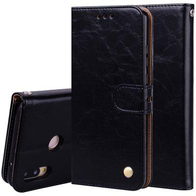 Hat-Prince Oil Wax Pattern PU Leather + TPU Bottom Shell with Card Slot Bracket Function Mobile Phone Case for Huawei P20 Lite