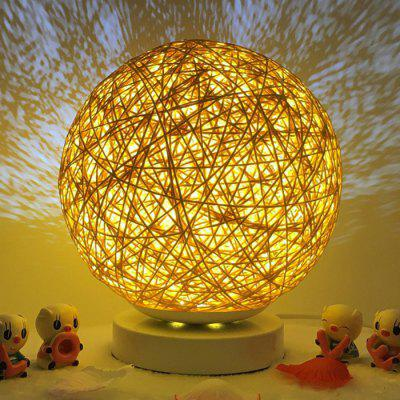 Bedside Romantic Star Projector Creative Night Light USB Dimming Twine Wood Rattan Table Lamp