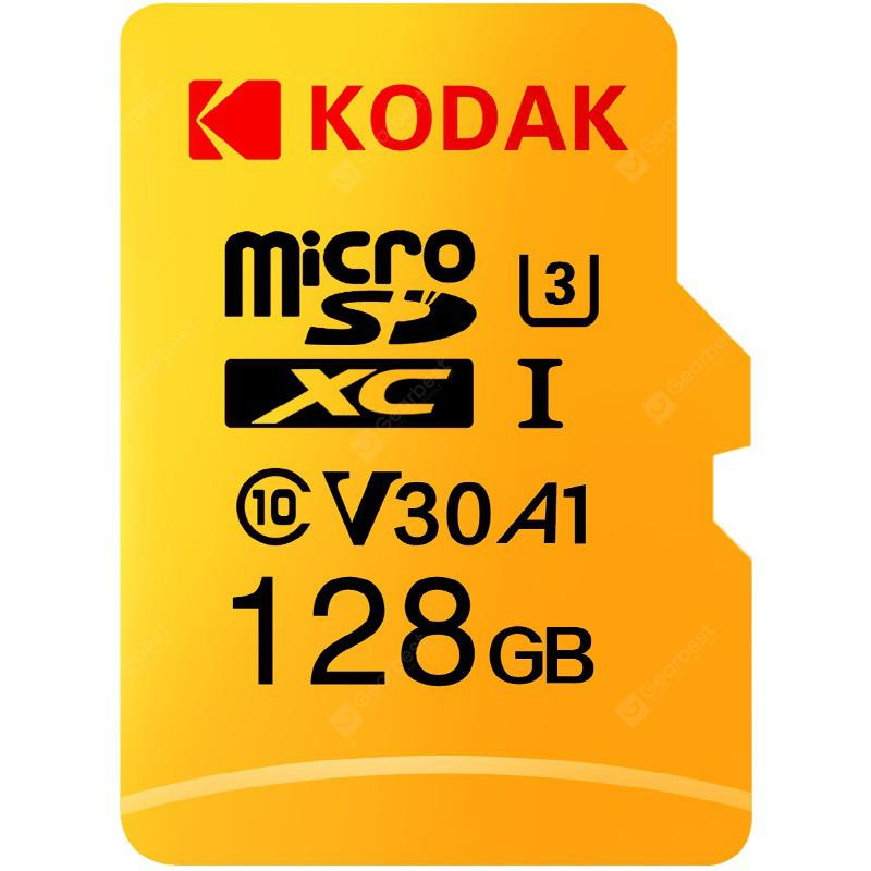 Kodak High Speed U3 A1 V30 TF / Micro SD Memory Card Support 4K - Yellow 128GB