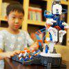 Kids DIY Hydraulic Power Machine Arm Science Model Assembly Toy Set - WHITE