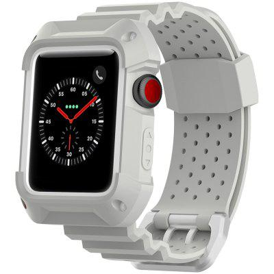 Toepasbaar op Apple Watch 1/2/3 Generatie Universeel Tweekleurenkader Ademend Rubber Neutrale band Iwatch Sportriem 38mm