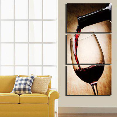 Triple Painting Core Pour Red Wine Oil Painting 3pcs