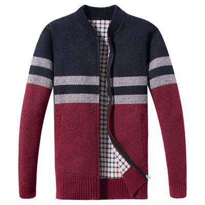 Men Stylish Comfortable Stripe Round Neck Warm Sweater