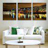 Triple Painting Core City Night Water Reflection Oil Painting 3pcs - MULTI