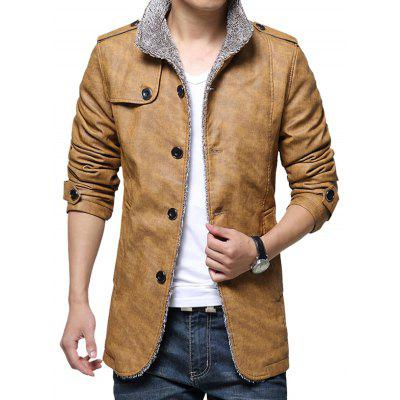 Men's Jacket Autumn Winter Lamb Fur Collar Thickening Slim Leather