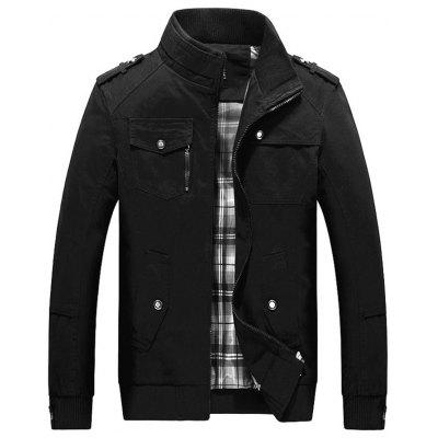 Men Cotton Jacket Youth Stand Collar