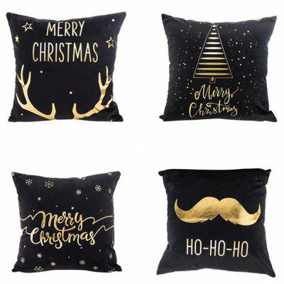 Christmas Decorations Hot Stamping Black Bottom Christmas Pillowcases Cushion Cover 4 Packs ( without Pillow )