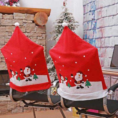 Christmas Decoration Old Man Snowman Ski Print Chair Cover 2pcs