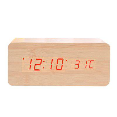 Creative Wireless Charging Voice-activated LED Wood Clock Electronic Creative Silent Alarm Clock Wooden Clock